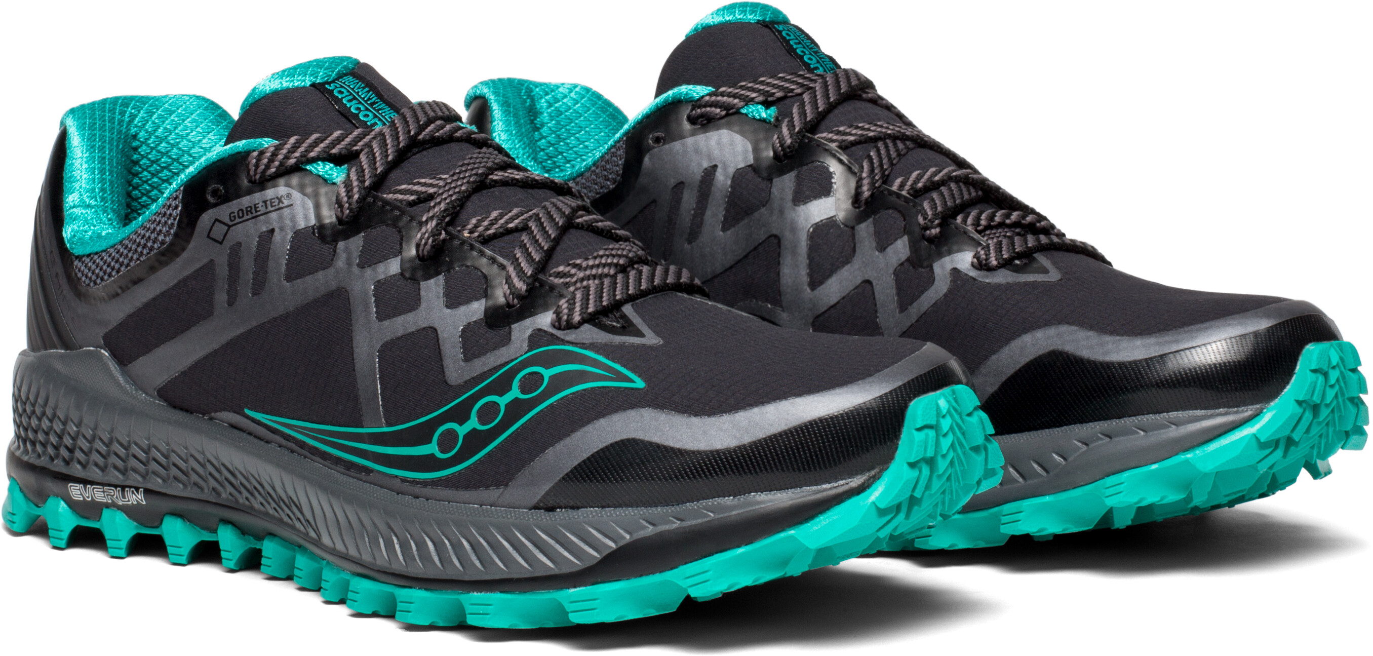 saucony Peregrine 8 GTX Running Shoes Women black turquoise at ... 4a4ce0682cf